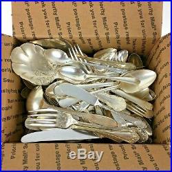 100+ Pc Mixed Lot Silverplate Silverware Flatware Church Restaurant Crafts Scrap
