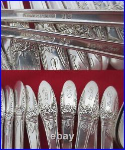112 Piece Set Vintage 1847 Rogers Bros Silverplate FIRST LOVE Silverware Mono B