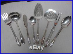 126 PCS VINTAGE 1881 ROGERS ONEIDA ENCHANTMENT SILVERPLATE FLATWARE with CASE