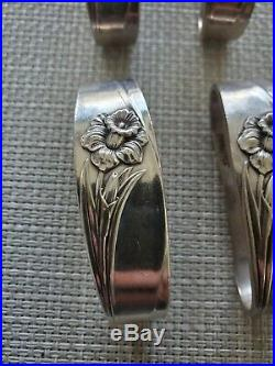 1847 ROGERS BROS. Daffodil Pattern SILVER PLATE NAPKIN RING Set of 12