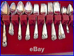 1847 ROGERS BROS ETERNALLY YOURS 100th ANNIV S/P FLATWARE 52 pc LINED BOX c1940s