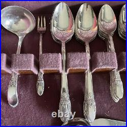 1847 Roger Bros 53 Piece FIRST LOVE Silverware Silver Plate Set (in BOX)