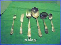 1847 Roger Bros, Ancestral Silver Plate Flatware Set 107 Pc