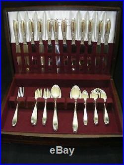 1847 Rogers Ambassador Silverplate Flatware 42pc Set Chest / Box 1900-1940
