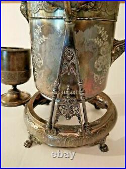 1847 Rogers & Bro Triple Silver Plate Tilting Ice Water Pitcher on Stand withCup