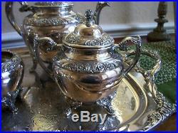 1847 Rogers Bros COFFEE TEA service SET Silverplate HERITAGE Pot Teapot Tray USA