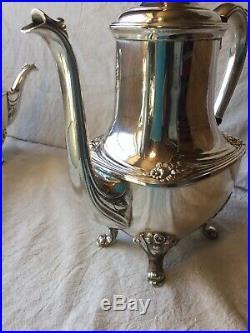 1847 Rogers Bros Daffodil Five Piece Silver Plated Tea Set Hollowware 9901 5