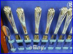 1847 Rogers Bros SilverPlate'Daffodil' Flatware Set WithCase 12 Service 66 pcs
