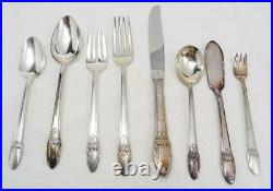 1847 Rogers Bros Silverplate First Love Pattern Flatware 83 Pieces Wood Case