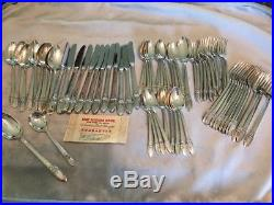 1847 Rogers Bros Silverplate Flatware First Love 74 Pieces Service for 12