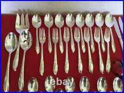 1847 Rogers Bros Springtime Silverplate Flatware 56 Piece Set