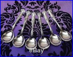 1847 Rogers Bros VINTAGE Grape Set of 6 CHOCOLATE Spoons 4 1/8 1904 RARE