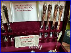 1847 Rogers Brothers Silverplate Silverware Set Antique DAFFODIL 63 pc with box