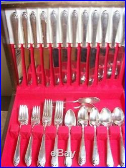 1847 Rogers LOVELACE 1938 silverplate 79 pc service for 12 with drawer chest