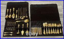 1881 Rogers Oneida Ltd Silverplate Flatware 75 Pieces Gold Plated