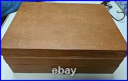 1881 Rogers SilverPlate ONEIDA Flirtation Flatware SET 69 Wood Box Chest Serve 8