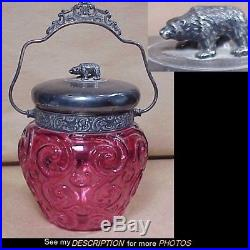 1894-1929 Wm Rogers Silver Plate & Cranberry Glass Biscuit Jar Bear Finial