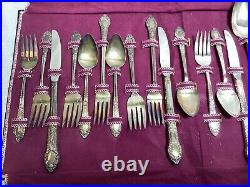 1938 Roger Oneida Silverplate Flatware RENDEZVOUS Old South 34 Pieces + Keeper