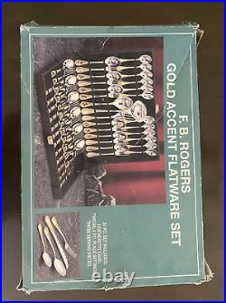 22k Gold Plated accent by F B Rogers, Flatware, 51 Pieces f. B. Silverware