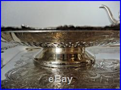 40s Vintage 6 Piece Rogers Old English Silver Plated Rococo Tea Set Tray & Tazza