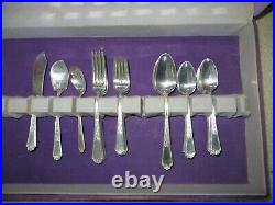 45 pc Set Ancestral Pattern Silver-plated Flatware 1947 Rogers Brothers Wood Box