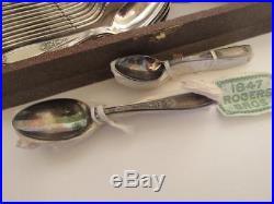 49 pc 1847 Rogers Ambassador Silverplate Flatware Set Silverware with Case Unused