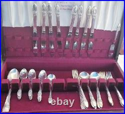 50 Piece Vintage 1847 Rogers Bros Silver Plated Flatware First Love Pre-owned