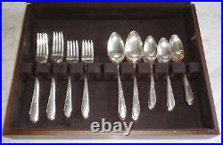 50pc Wm Rogers & Son IS Gardenia Silver Plate Flatware Set in Chest Service 8+