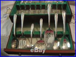 57 Pcs Rogers Bros Daffodil Silverplate Flatware + Serving Pcs Org Wood Box