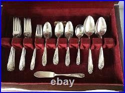 60 Pc DAFFODIL Silverplate Flatware Set for 12 by 1847 Rogers Bros IS c1950