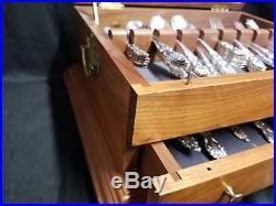 67 Piece 1881 Rogers Oneida Flatware Set Modern Baroque Pattern In Wood Case