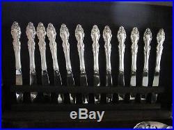 69 Pc Set 12 Pl, 1881 Rogers Oneida Baroque Rose Silverplate Tableware, Nb, Vg