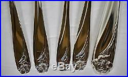 76 Pieces 1847 Rogers Bros Daffodil Silverplate 1950 Service for 12 w Wood Chest
