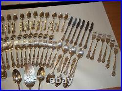 85 Piece 1847 Rogers Bros Silverplate Flatware Set Heritage Pattern