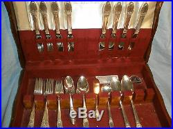 8 place settings & Serving Pieces 1847 Rogers Bros First Love Silverplate Chest