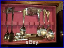 95 Piece Set DAFFODIL Silverplate Flatware with Chest 1847 Rogers Bros. NICE