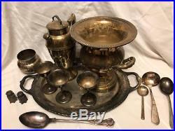 Antique 1800s Roger's Sterling Silver Platter Salt Pepper Spoon Dinnerware Lot