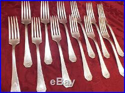 Antique 1916 IS 1847 Rogers Bros Silver plated Salad Fork Heraldic