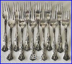 Antique 1847 Rogers Bros Silver Plate Vintage Grape Salad Dessert Fork x12 Set
