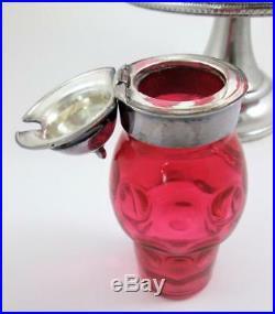 Antique 5 Bottle CRANBERRY Castor / Condiment Set ROGERS Quadruple Plate Frame