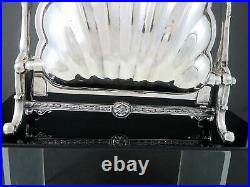 Antique F. B. ROGERS Silverplate SHELL SHAPE FOLDING BISCUIT WARMER BOX