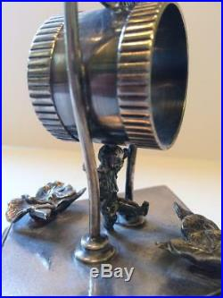 Antique Figural Silverplate Napkin Ring Rogers Smith & Co. Kicking Boy