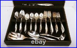 Antique Rogers Bros 1847 Int. Silver Daffodil 87pc. Set Serving utensils Chest