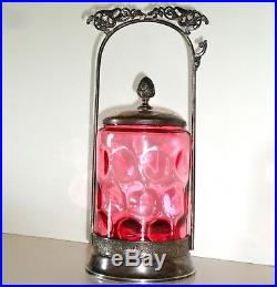 Antique Rogers & Smith Co CRANBERRY GLASS Pickle Castor Vintage Ruby Red Color