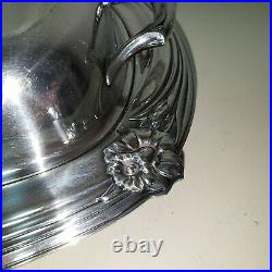 Antique Silver Plated Rogers Bros Tureen Serving Dish Daffodils Pattern