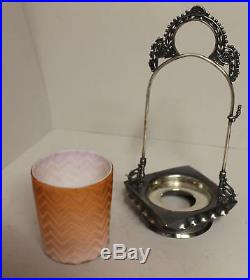Antique Victorian Apricot Satin Glass Pickle Castor Rogers Silver Plated Holder