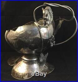 Antique Victorian Rogers Bro Triple Silver Plate Handled Acorn Basket Squirrel