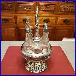 Antique Victorian Rogers Bros German Silver Etched Cruet Condiment Set Caddy 15