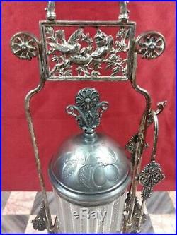 Antique Victorian Rogers Smith & Co Quadruple Silver Plate Pickle Castor & Tongs