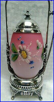 Antique rare Rogers silverplate Victorian pickle castor with satin enameled jar